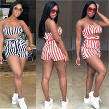 Women Playsuits for Streetwear Bandage Hollow Out Design Strapless Striped Playsuits Lady Summer Slim Pockets Playsuits(China)
