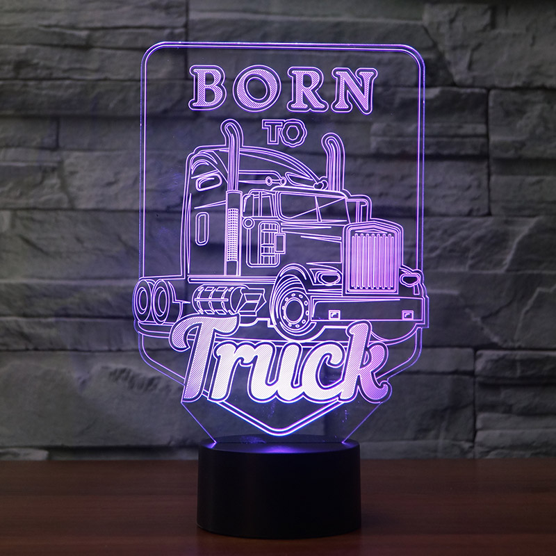 Kingchip Born To Truck 3D Led Night Light Led Acrylic Colorful Lights Hologram Kids Table Lamp Atmosphere Usb Led Light Light