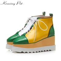 Krazing Pot Genuine Leather Korean Style Square Toe Mixed Color Wedges High Heels Boots Winter British