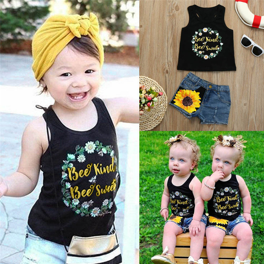 Fashion 2018 Toddler Baby Girls Letter Print Vest Tops T-Shirt Floral Denim Shorts Outfit Set Sports Suit For Girls Dropshipping