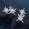 100% 925 Silver Star Сложены Стиль Серьги Белое Золото Крошечный Цирконий Асфальтовая Изысканный Звезда Серьги Стержня для Женщин