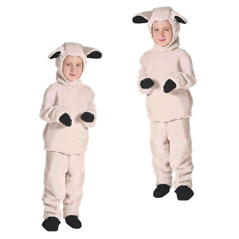 Children Little Lamb Costume Sheep Cosplay Suit Animal Costume Fancy Dress with Hood Halloween Costume for Kids