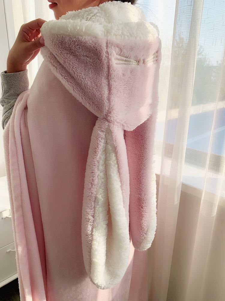 Cute Pink Comfy Blanket Sweatshirt Winter Warm Adults and Children Rabbit Ear Hooded Fleece Blanket Sleepwear Huge Bed Blankets 127