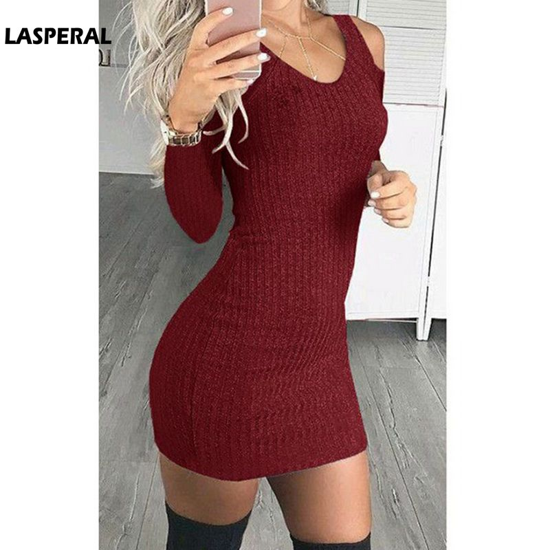LASPERAL Women Long Sleeve Strapless Knitted Dress 2018 Spring Autumn Sheath Bodycon Sweater Dress Strapless Party Mini Vestidos