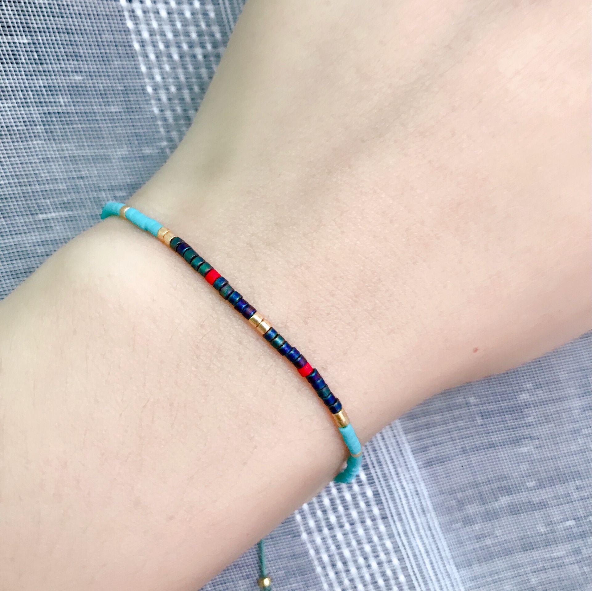 Simple Miyuki Thin Bracelet Women Handmade DelicaColor Beads Seed Crystal Pulsera Bangles Boho Adjustable Lucky Jewelry