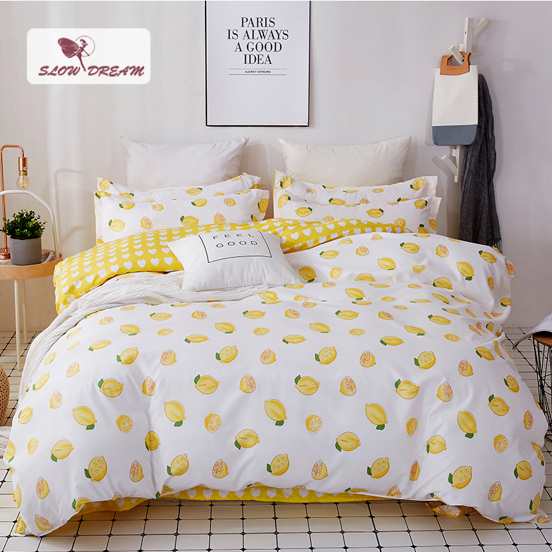 SlowDream Lemon Bedding Set Nordic Single Double Bed Sheet Comforter Duvet Cover Bedspread Bedclothes Adult Queen King Linens