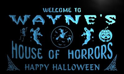 x0072-tm Waynes House of Horrors Halloween Custom Personalized Name Neon Sign Wholesale Dropshipping On/Off Switch 7 Colors DHL