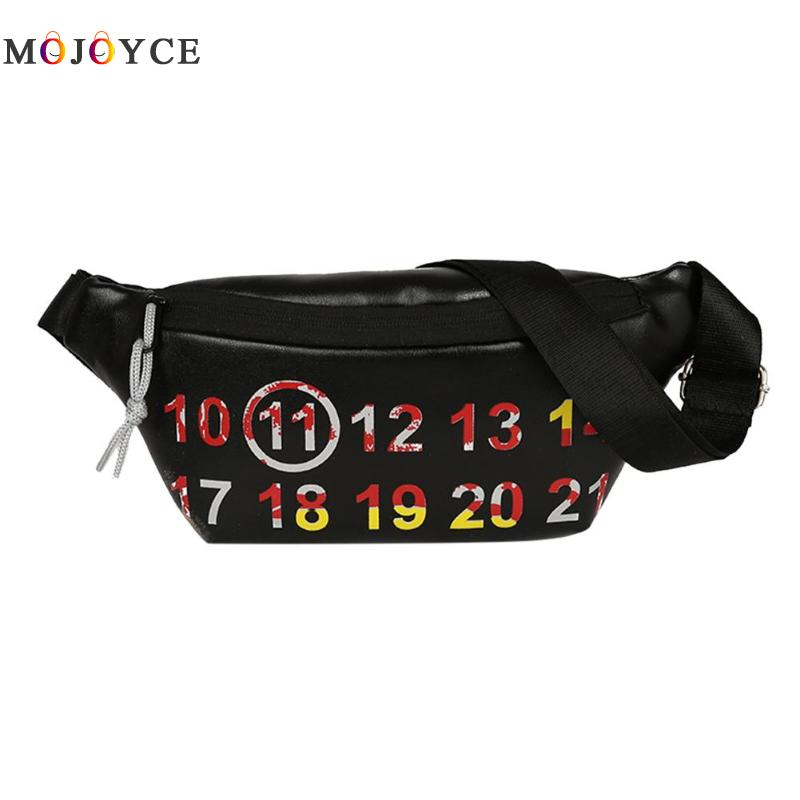 Numbers Printed PU Leather Waist Pack Pouch Women Girls Chest Strap Belt Bag Female Fashion Fanny Pack