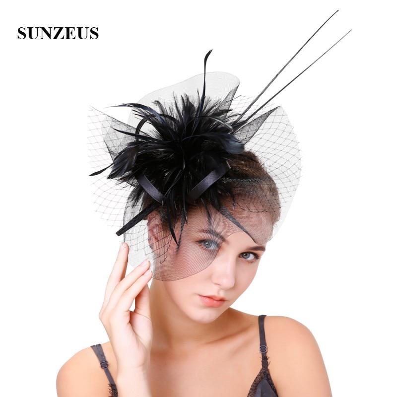 Feathers Tulle Wedding Hats Elegant Fascinators Women's Party Hair Decoration Red Chapeu De Casamento SH47