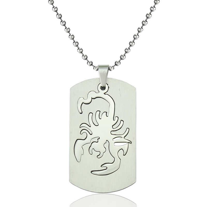 Mode Scorpion colliers pendentif Scorpion 12 Constellation acier inoxydable pendentif Rectangle hommes femmes bijoux