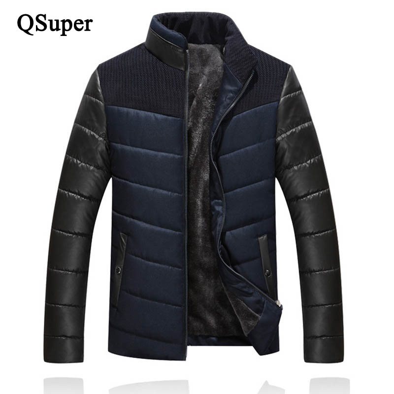 Подробнее о QSuper New Winter Jackets Men Parkas Thick Fleeces Warm Stand Collar Striped Pattern Casual Outwear Coat Brand Down Parkas 2016 new brand winter jacket men thick warm casual fur collar down coat windproof hooded outwear jackets men outwear parkas