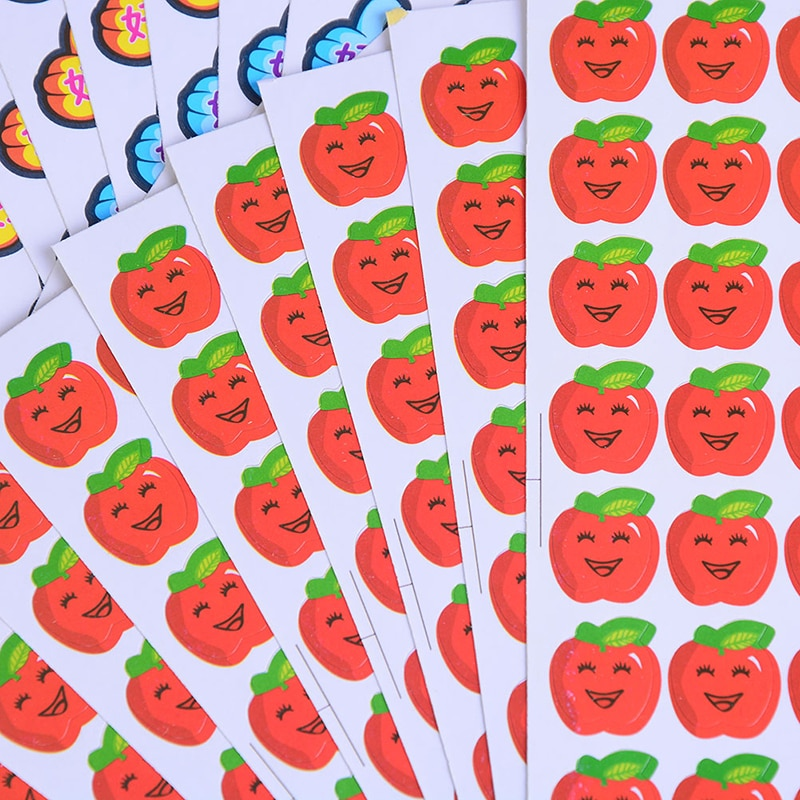 10 Sheets Paper Stickers Smile Thumbs School Kindergarten Teachers Reward Stickers Mini Paper Children Toys Stickers