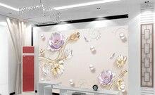 3d modern minimalist flower TV background wallpaper 5d mural embossed living room bedroom warm seamless wall covering