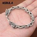 100% Genuine 925 Sterling Silver Vintage Punk Dragon Link Chain Bracelet Thai Silver Jewelry for Man or Women