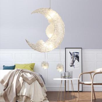 Moon Pendant Lighting Bedroom Modern LED Star Pendant Lamp Aluminum Hanging Lights for Dining, 5×G4, Warm White Light, Silver