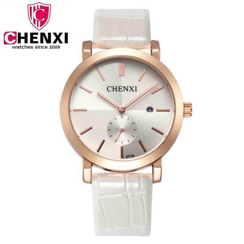 Genuine Leather Women Watch Fashion Brand Chenxi Large dial Quartz Wristwatch Classic Ultra thin Watches Woman Clock PENGNATATE weiqin w3224 shell dial ultra thin ceramic women quartz watch