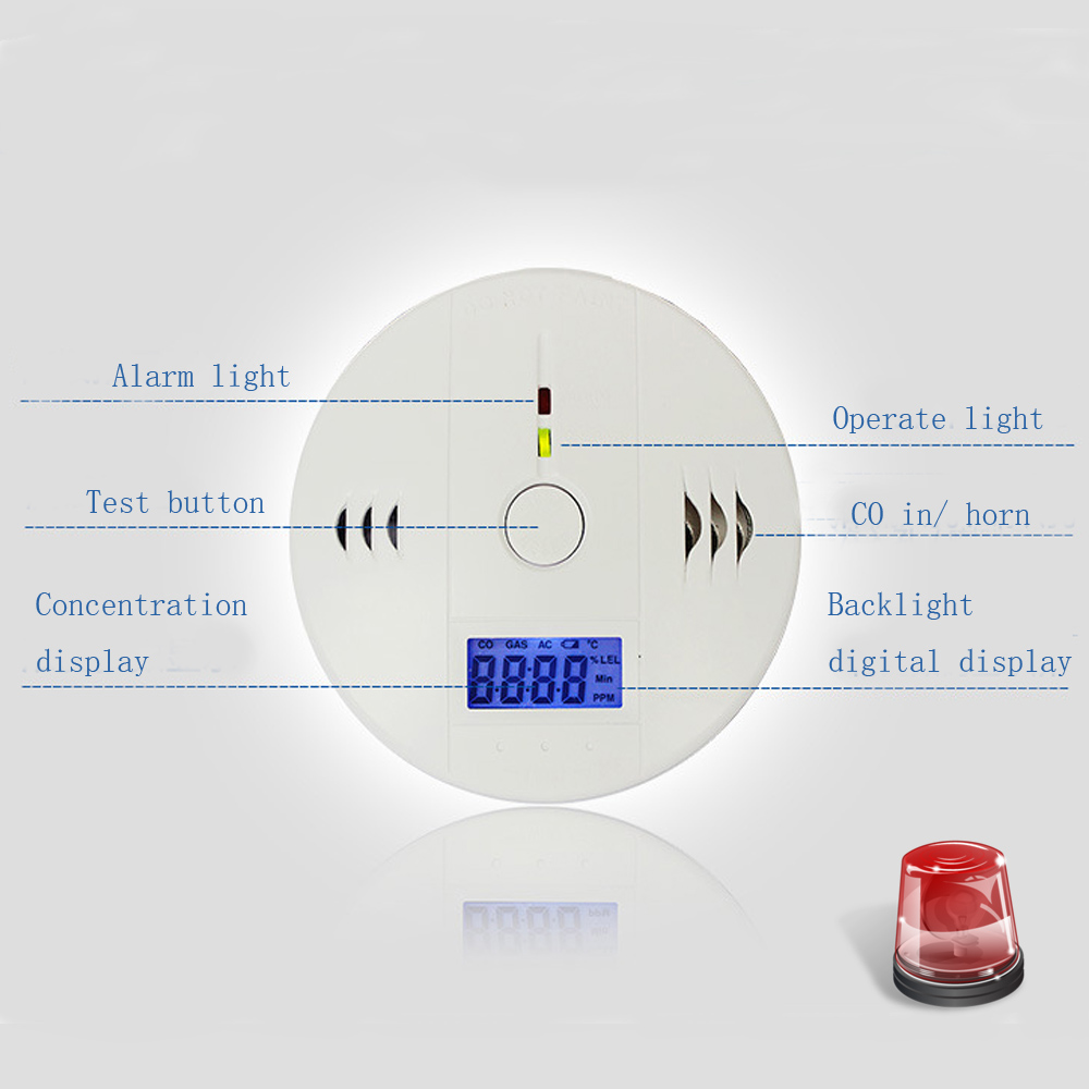 Wireless Carbon Monoxide CO Gas Detector Alarm Sensors Digital Backlight LCD House Home Alarm Systems Security topvico wireless co carbon monoxide gas detector alarm sensor high sensitive digital backlight lcd house home security system