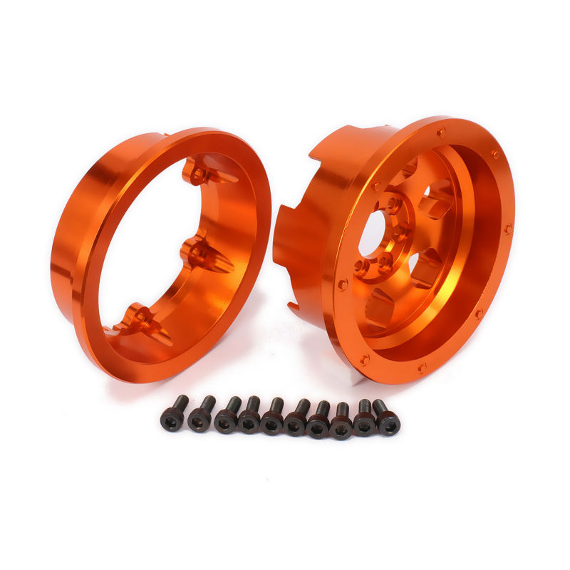 Aluminum 6 Spoke 2.2 Beadlock Wheel Rim For Axial Yeti Rock Racer AX90026 Desert Buggy Off-Road Crawler Upgraded Hop-Up Parts front lower suspension control a arms aluminum for rc car 1 10 axial yeti rock racer buggy crawler upgraded hop up parts ax90026