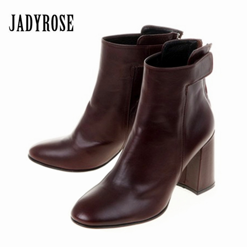 Jady Rose Fashion Ankle Boots for Women Autumn Winter Chunky High Heel Martin Boots Female Botas Mujer Ladies Valentine Shoes e toy word boots women fashion autumn martin boots warm women shoes ankle boots for women winter botas mujer wedges ankle boots