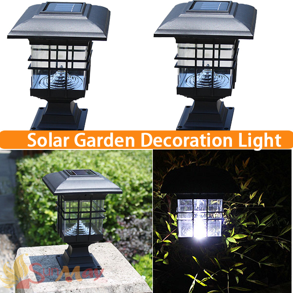 Solar Post Cap Lamp Led Landscape Post Light Waterproof Ip44 Black Plastic Outdoor  Garden Lawn Pillar