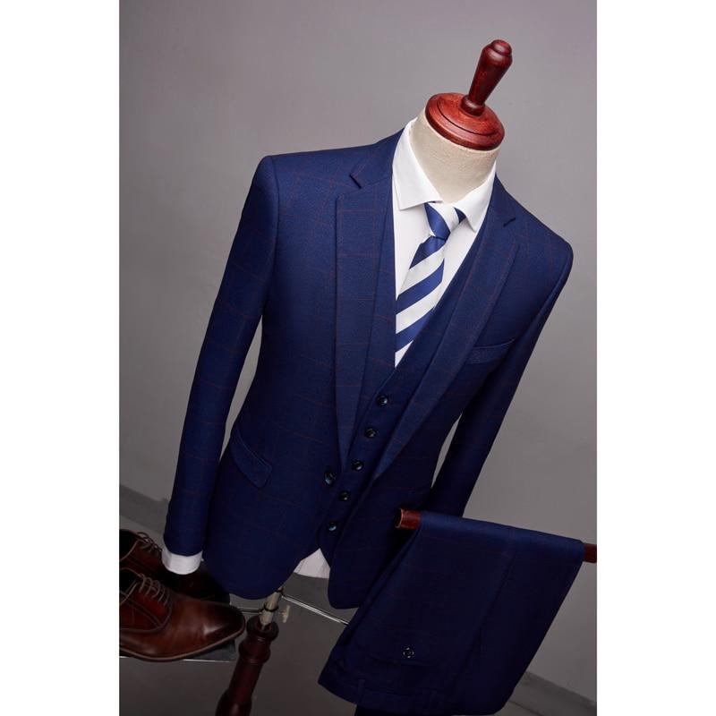 marine Nouvelle Casual Costumes Arrivée Slim Boucle Noir bleu Mode veste Fit Plaid D'affaires Hommes De Bleu Mens Unique Hommes 2018 ardoisé Classiques Costume Gilet Pantalon rouge tqxpwz4F