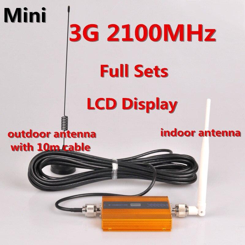 Écran LCD!!! Mini W-CDMA 2100Mhz GSM amplificateur de Signal 3G répéteur WCDMA répéteur de Signal Mobile 3G amplificateur de téléphone portable + antenne
