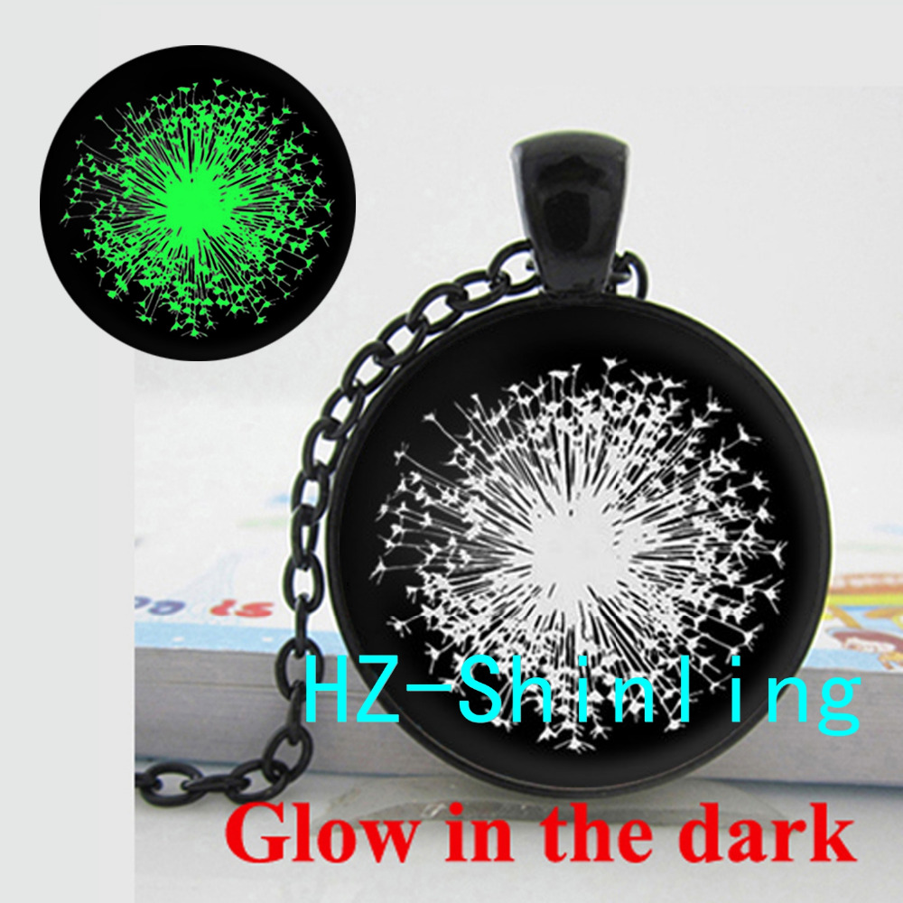 Glowing Jewelry Dandelion Art Necklace White Dandelion Glowing Pendant Jewelry Glass Dome Pendant Necklace