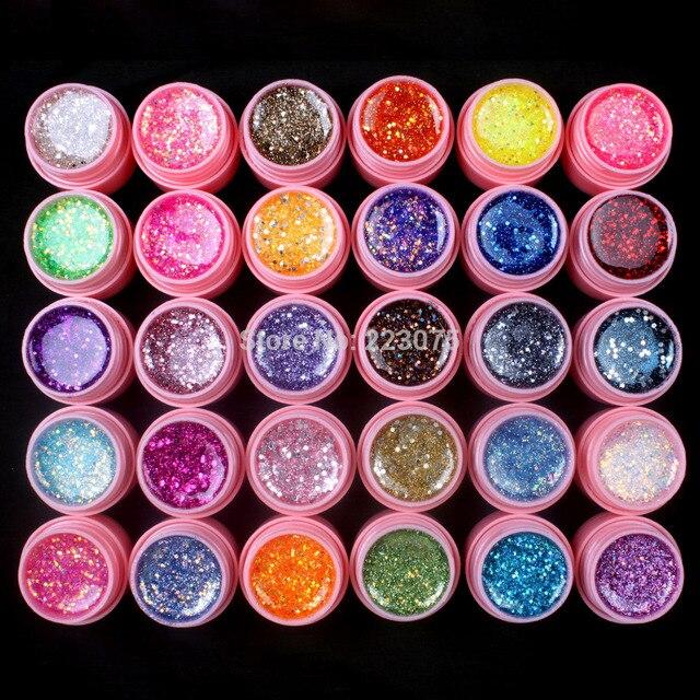 New DIY Professional 30 Pcs Mix Color Glitter Hexagon Sheet Nail Art UV Builder Gel for Tips white pot Set