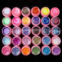 Nieuwe DIY Professionele 30 Stks Mix Kleur Glitter Hexagon Sheet Nail Art UV Builder Gel voor Tips wit pot Set