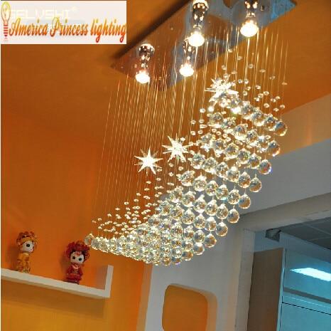 Moon Star restaurant modern minimalist rectangular crystal chandeliers hanging wire Bar Restaurant lamps.