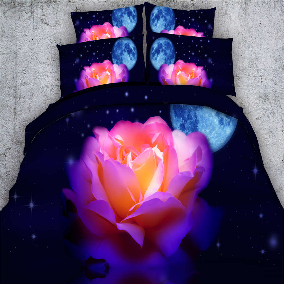 Pink and black bed sets - Vivid Rose Flowers Starlight 3d Quilt Duvet Cover 500tc Black Bedding Sets Twin Full Queen