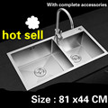 Free shipping Kitchen sink durable manual 3 mm thick food grade stainless steel vogue double groove 81 x44 CM