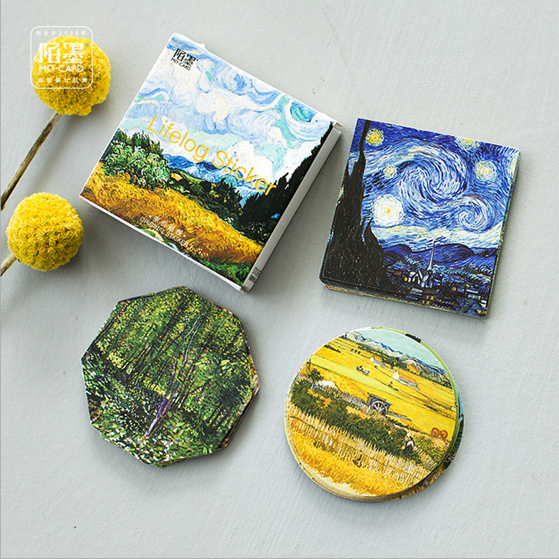 45 Pcs/box Meet Van Gogh Mini Paper Sticker Decoration Diy Album Diary Scrapbooking Label Sticker Kawaii Stationery 45 pcs box classical chinese style stickers diy album adhesive paper scrapbook notebook decoration sticker stationery kids gifts