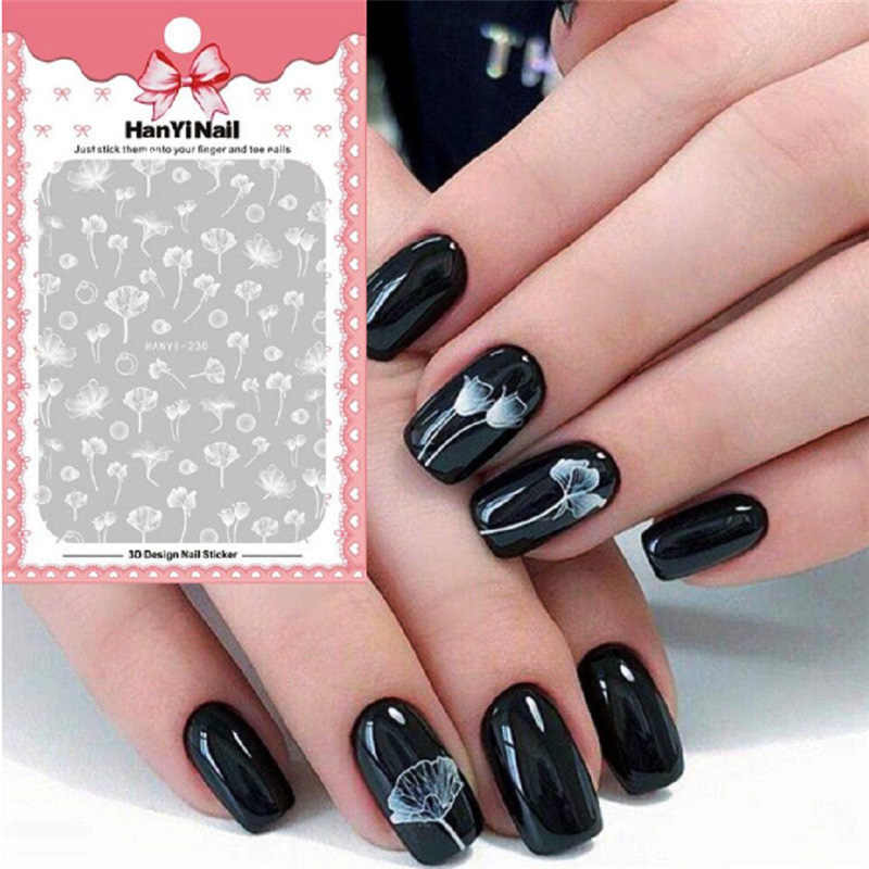 1 Vel 3D Reliëf Nail Art Sticker Mooie Moon Star Bloem Lijm Nail Stickers Diy Adhesive Manicure Nail Art Tips decals