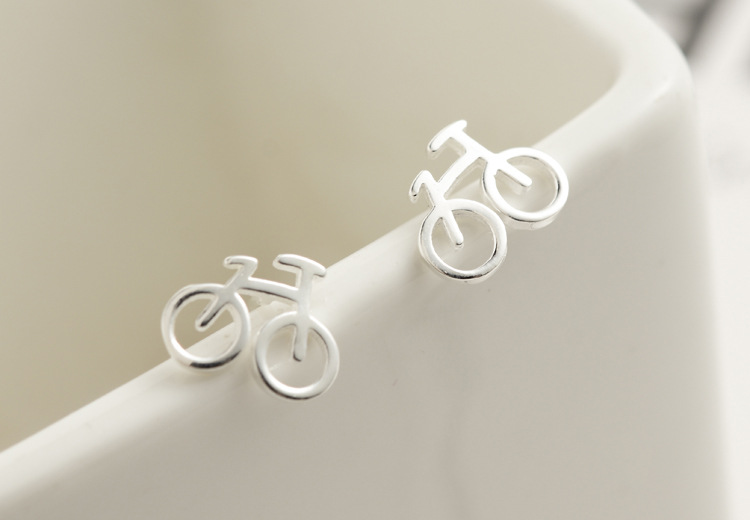 Ziris Fashion Jewelry S925 Sterling Silver Stud Earrings Matte Silver Cute Bicycle Post for Gilrs Lady Black Friday Best Gift
