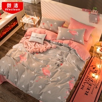 AB version cotton velvet four piece double purpose thickened warm crystal velvet bedding quilts sheets