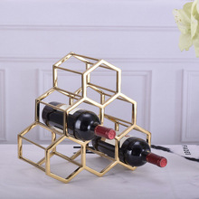 Creative Metal Honeycomb Wine Rack Nordic Model Villa Home Soft Decoration Cabinet