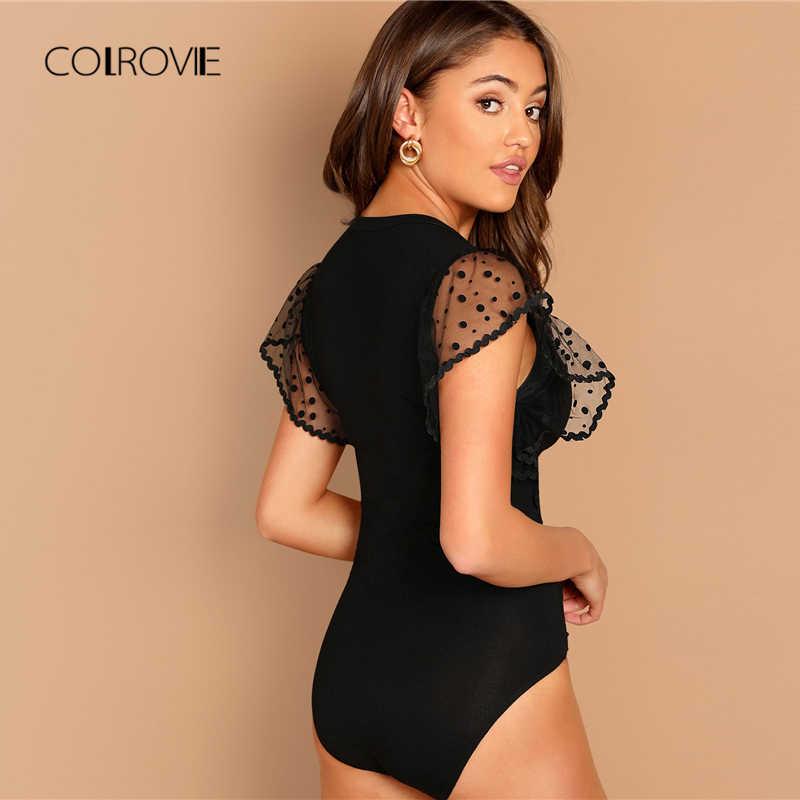 COLROVIE/черная Однотонная рубашка в горошек с v-образным вырезом и рукавами-рюшами, сексуальная Корейская Облегающая рубашка, боди, женская одежда, офисные женские боди