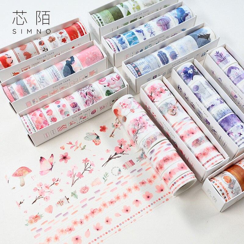 8pcs/set Adhesive Masking Tape Set For Stars Sky Cherry Blossom Ocean Flamingo Creative Washi Tapes Japanese Decorative Adhesive