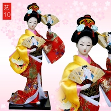 Japanese Geisha doll silk kimono doll style ornaments Home F