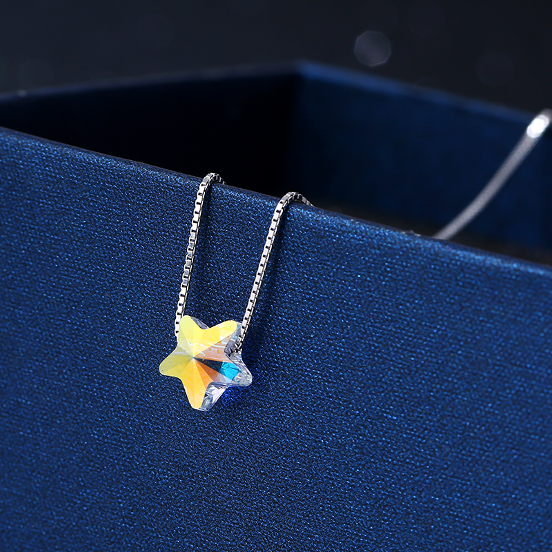925 Sterling Silver Necklace Pendant For Women Crystal Star Pendant New Fashion Trendy Charm Chain Choker Girls Gift Jewelry