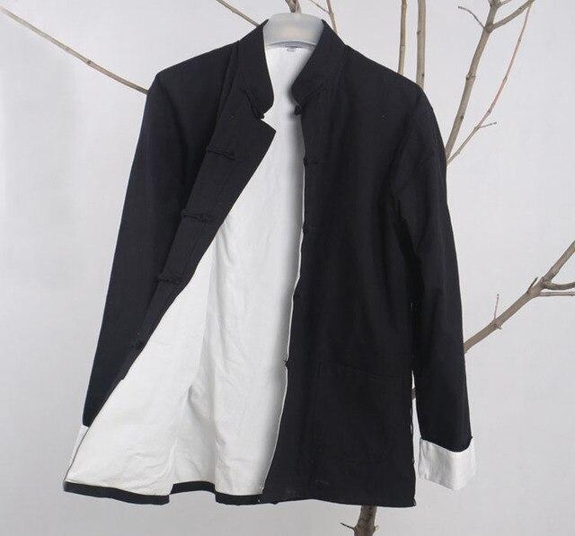Черный традиционная китайская мужская хлопок старый грубый пальто старинные кунг-фу куртка тан-костюм пальто вин чун тай чи топы одежда
