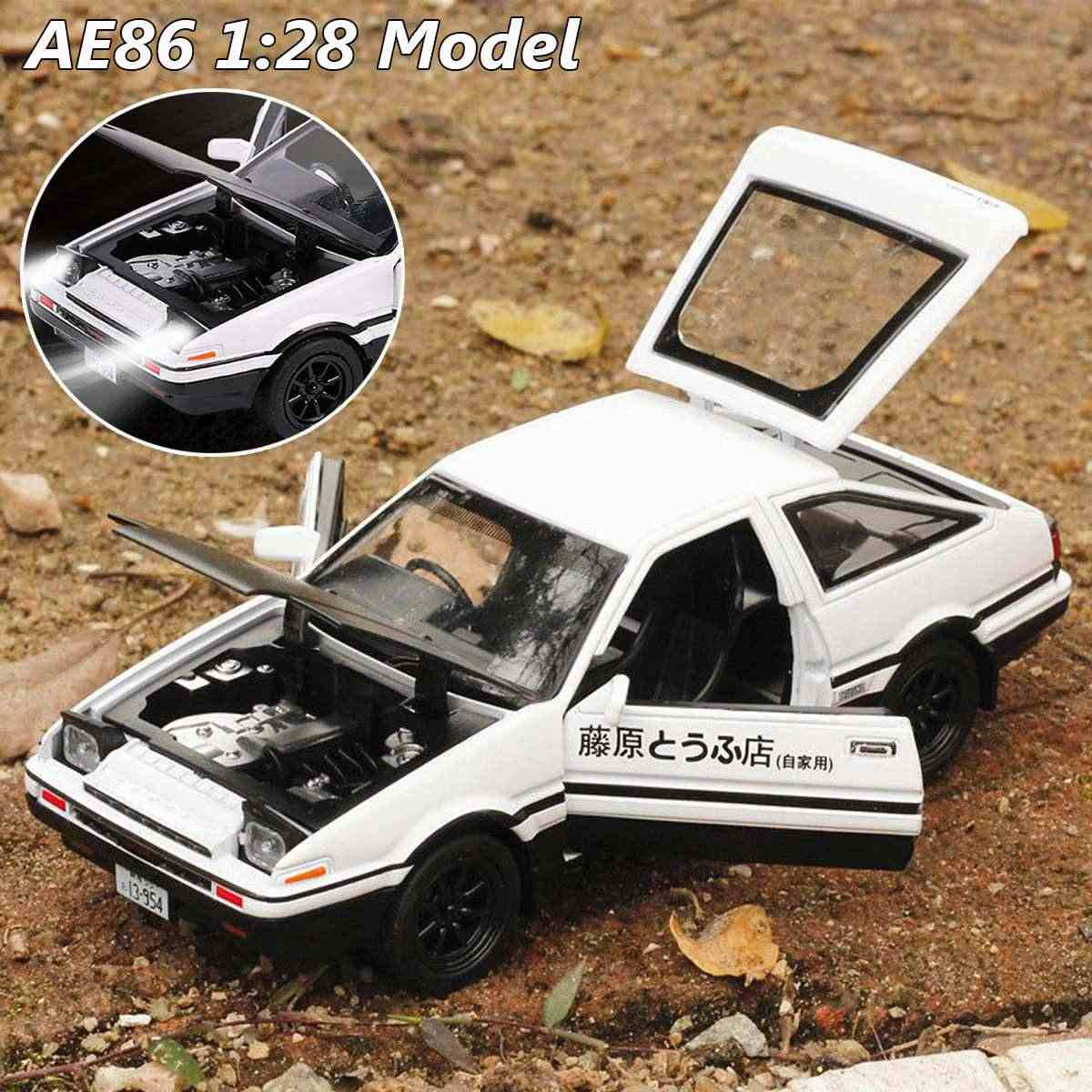 Initial D AE86 1:28 Alloy Car Model Anime Cartoon Fast Furious With Pull Back Sound Light For Boy Toys