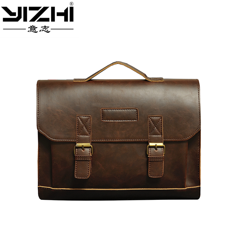 YIZHI Brand Men 39 s Briefcase Handbag Crazy Horse Pu Leather Messenger Travel Bag Business Men Tote Bags Man Casual Crossbody Brie in Briefcases from Luggage amp Bags