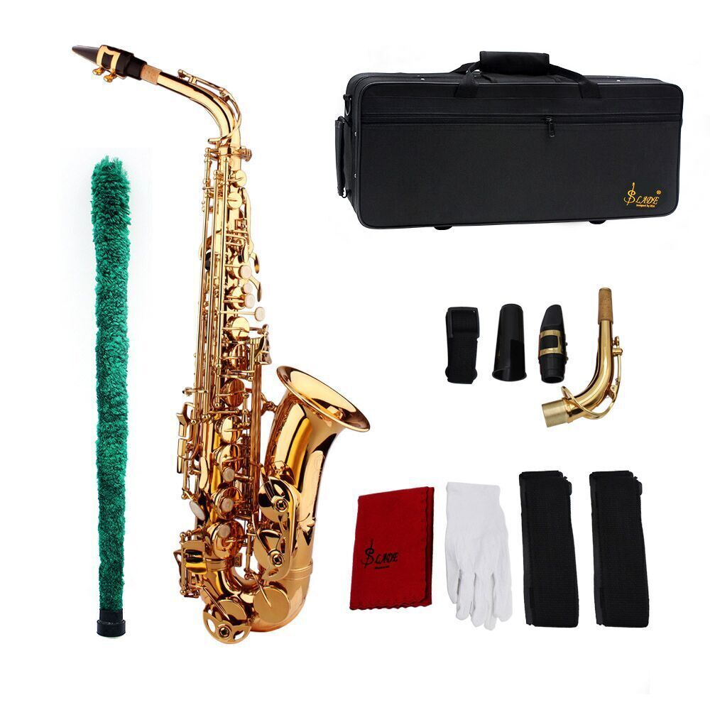 Top Quality Eb Be Alto E Flat Brass Saxophone Sax Carved Pattern Plastic Mouthpiece With Gloves Cleaning Cloth Brush Straps