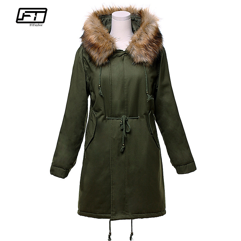 Fitaylor New Women Winter Jacket Cotton Coat Medium-long Hooded Parkas Fur Collar Thickening Snow Outwear Military Overcoat new 2015 autumn winter outdoors medium long fleece jacket fur hooded army green parka men thickening coat 10