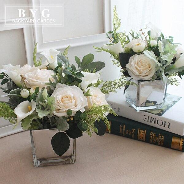 rose calla bouquet de fleurs de bureau fleur vase combinaison salon salle manger table style. Black Bedroom Furniture Sets. Home Design Ideas