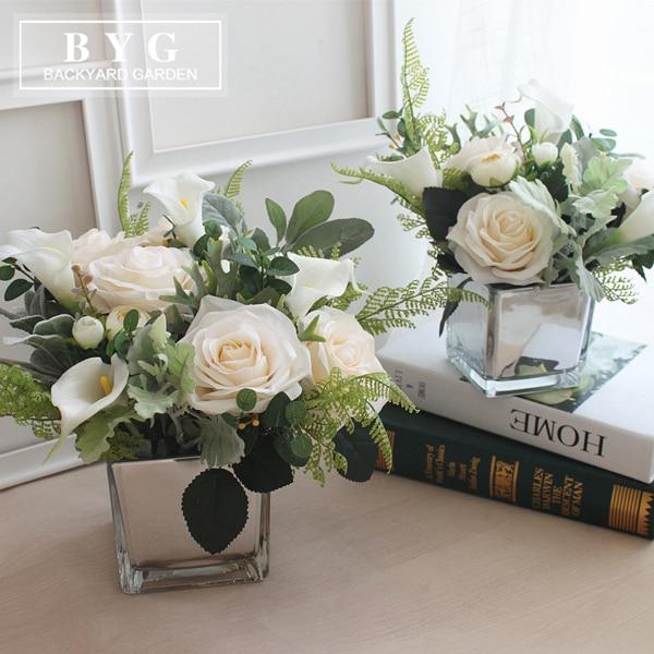 Rose Calla Flower Bouquet Desktop Flower Vase Combination Living Room Dining Table Style House