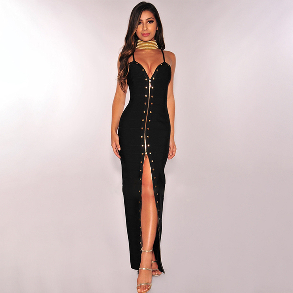 Orange Black Women's Summer Sexy Studded Dress 2019 Sleeveless Strapless Bandage Bodycon Dress Celebrity Runway Party Long Dress
