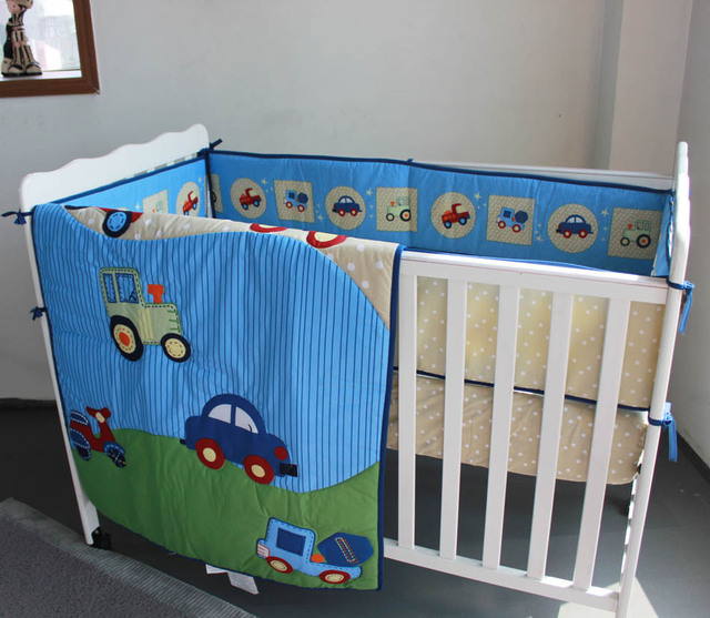 Stereo Embroidery Blue Cars 6 Pieces Baby Boy Crib Cot Bedding Set Quilt Per Ed